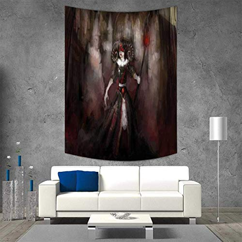 VAMIX Gothic Tapestry Wall Tapestry Medieval Evil Woman Horns Mask Witch Myth Fantasy Old Fashion Scary Watercolor Art Wall Decor 51W x 60L INCH Black Red Grey ()