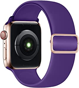 SIRUIBO Stretchy Solo Loop Band Compatible with Apple Watch Bands 44mm 42mm, Adjustable Buckle Soft Silicone Sport Replacement Elastics Strap Women Men for iWatch Series SE/6/5/4/3/2/1, Purple