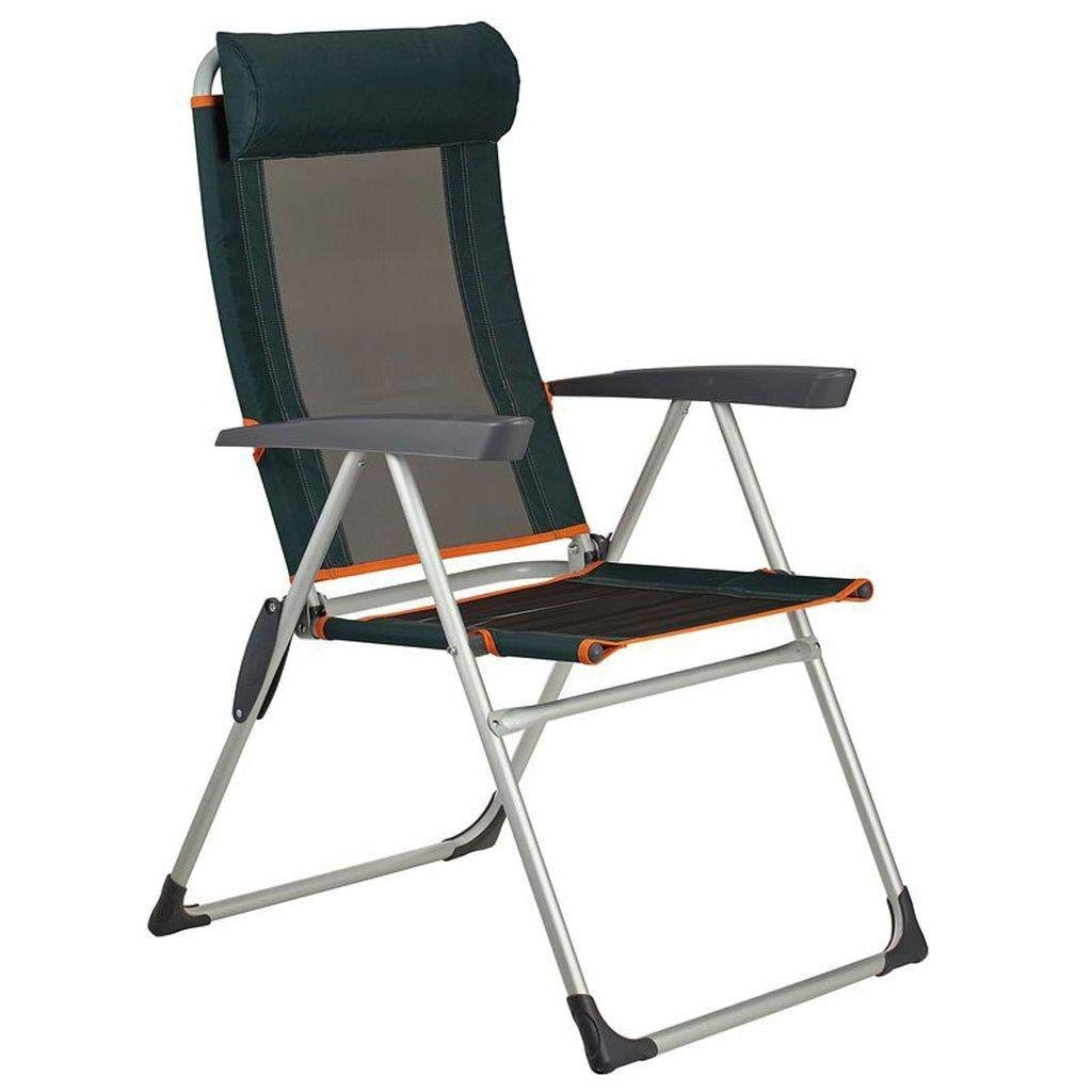 Folding Camping Chair Breathable Recliner Comfortable Folding Armchair (Color : Dark Green)