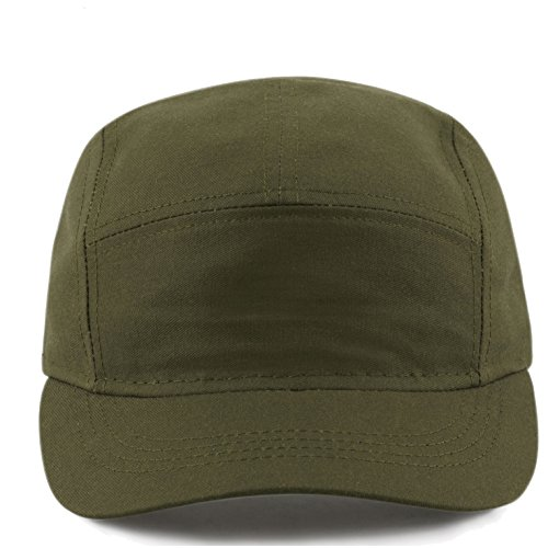 The Hat Depot Exclusive Made in USA Cotton 5 Panel Unstructured Outdoor Cap (Olive) - Exclusive Cap Hat