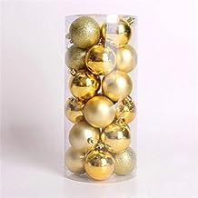 WINOMO Christmas Balls Ornaments for Tree Multicolor Decorative Theme Exquisite Decor Ball 24pcs (Gold)
