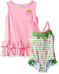 Wippette Baby Girls\' Strawberry Swim and Cover up Set, Sugar Plum, 6/9M