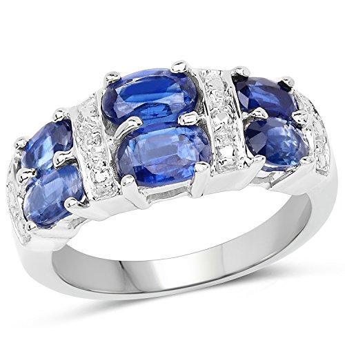 Bonyak Jewelry Genuine Oval Kyanite Ring in Sterling Silver - Size 8.00