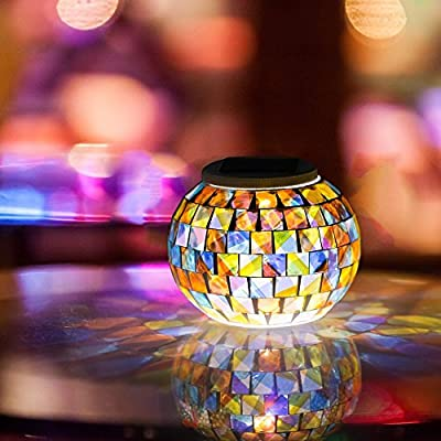 Solar Powered Mosaic Glass Ball Garden Lights,Avril Tian Color Changing Solar Night Lights,Waterproof Rechargeable Solar Table Lights Lamp for Indoor or Outdoor Decorations