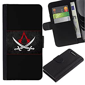 All Phone Most Case / Oferta Especial Cáscara Funda de cuero Monedero Cubierta de proteccion Caso / Wallet Case for Sony Xperia Z3 Compact // Assassins Sword Flag