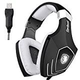[2016 Newly Updated USB Gaming Headset] SADES OMG PC Computer Over Ear Stereo Heaphones With Microphone Noise Isolating Volume Control LED Light (Black+White)