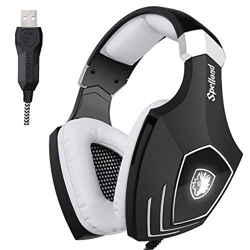 SADES A60S/OMG PC Wired USB Stereo Gaming Headset Headband Over Ear Headphones with Microphone Noise Isolating Volume Control LED Light (Black+White)