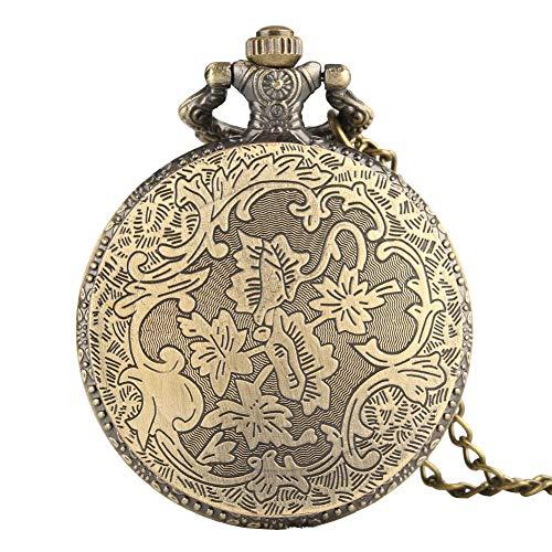MLSJM Vintage brons liv träd kvarts fickur för män kvinnor, retro ihåligt skelett antikt hänge halsband kedja klockor klocka, julklapp till far farfar