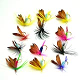 BLISSWILL Flies Fly Fishing Lures Kit Dry Flies Set Floating Flies Hooks For Bass Salmon Trout 12Pcs