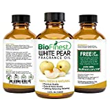 BioFinest White Pear Fragrance Oil - 100% Pure Natural Fruit - Home Aromatherapy, Essential Oil Diffuser, Air Refresher, Skin Hair Care Cosmetic Flavoring Candles Soap - FREE E-Book & Dropper (100ml)