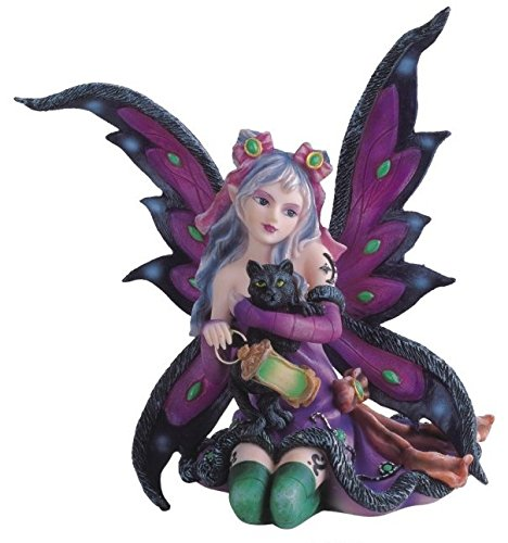 StealStreet SS-G-91408 Purple Fairy Kneeling with Black Cat Collectible Figurine Decoration (Fairy Figurines Collectible)