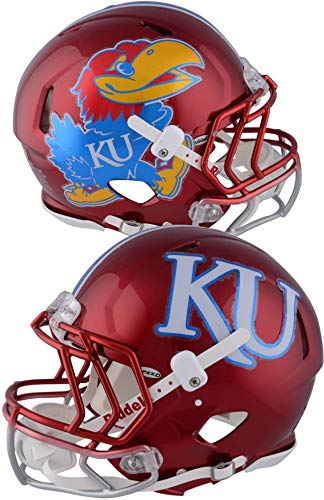 Kansas Jayhawks Game-Used Cherry Red Speed Helmet with Gunmetal Fade Facemask and Chrome Decals from the 2017 Football Season - Size XL - Fanatics Authentic Certified