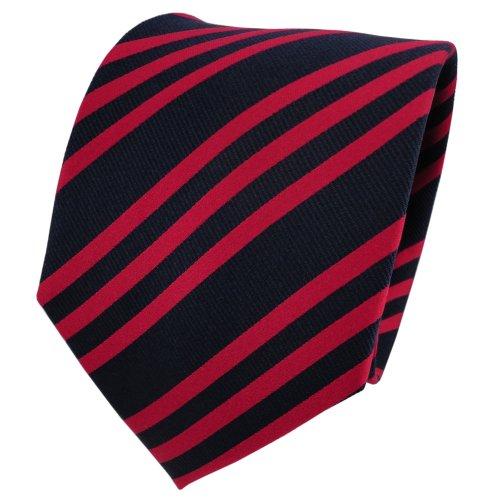 TigerTie cravate en soie rouge vif bleu rayé - cravate en soie