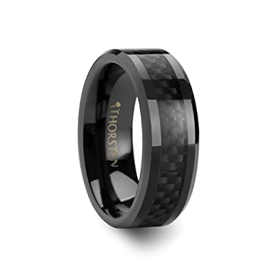 Thorsten Onyx Black Ceramic Wedding Band Ring with High Tech Black Carbon Fiber Inlay Polished Edges 4mm Width from Roy Rose Jewelry