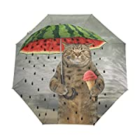 Naanle Cat Holding Watermelon Umbrella Ice Cream Auto Open Close Foldable Umbrella