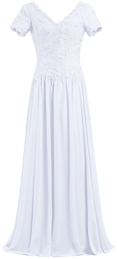 ANTS Women's V Neck Short Sleeve Mother The Bride Dresses Long Gowns T831-MFN