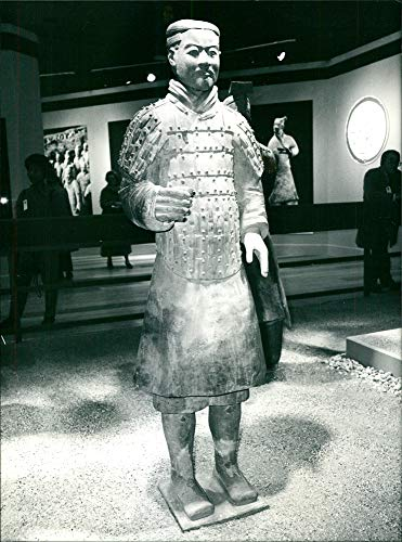 Vintage photo of Warrior in Armour Emperors terracotta warrior and horses from the Qin dynasty.