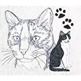 Bath Towel Set with Embroidered Black and White Tuxedo Cat