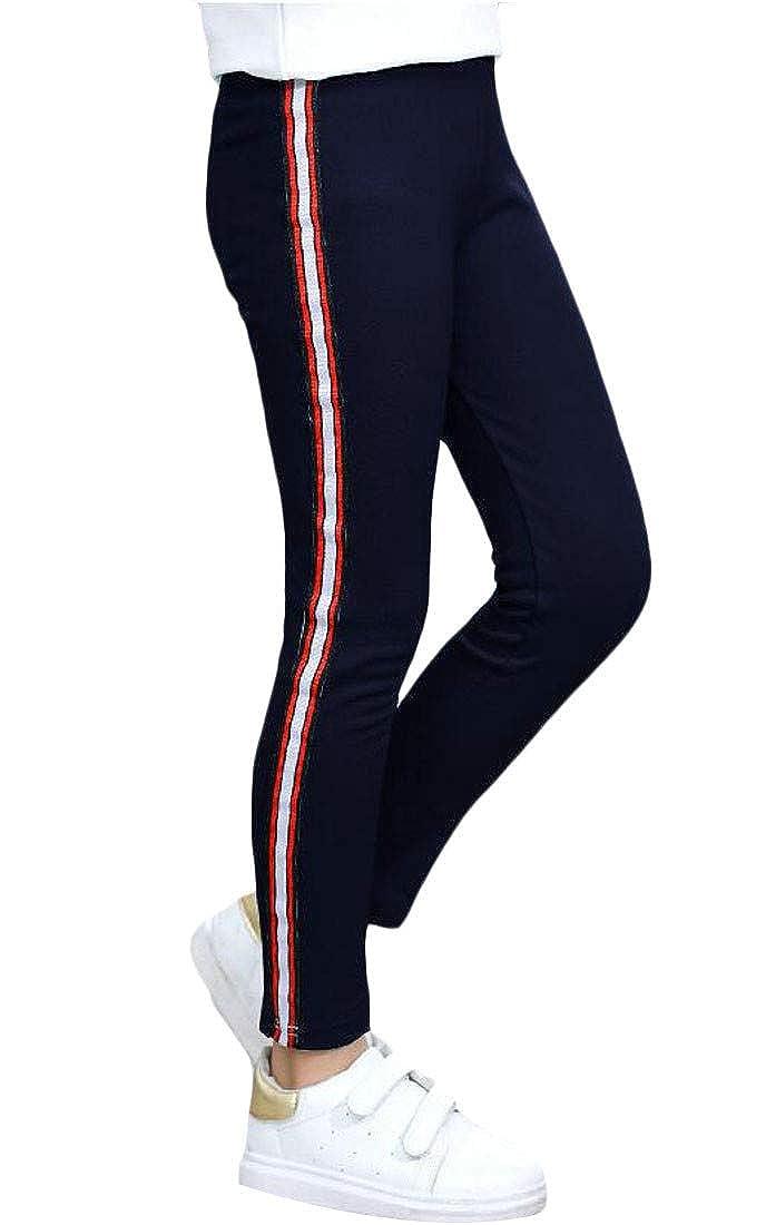 Lutratocro Girls Cute Basic Trousers Legging Stripe Slim Pants