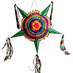 Mexican Star Pinata Party Decoration - Large Rainbow Pinata - Colorful Foldable and Festive