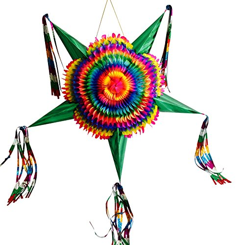 Mexican Star Pinata Party Decoration - Large Rainbow Pinata - Colorful Foldable and Festive -