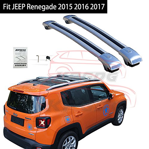 Fit For JEEP Renegade 2015 2016 2017 2018 Lockable Cross Bar Roof Racks Baggage Luggage Racks - Silver -  KPGDG, EJPZYXY