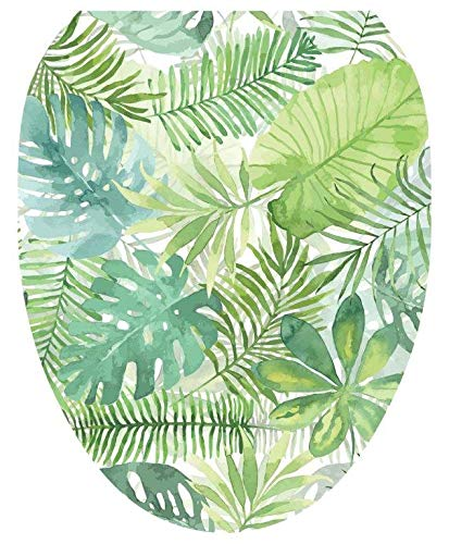 Lena Fiore Toilet Tattoo - Removable/Reusable Decorative Toilet Tattoo Lid Decal/Applique, Palm Leaves (Elongated TT-1160-O)
