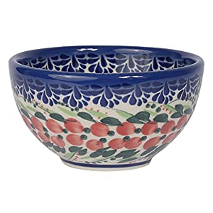 Traditional Polish Pottery, Handcrafted Ceramic Snack & Dip or Salad Bowl d.10cm, 200ml, Boleslawiec Style Pattern, M.700.Cranberry