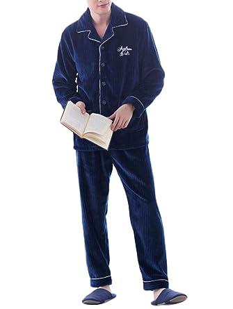 DAFREW Pijamas para hombres, servicio de franela de otoño e invierno en casa, conjunto