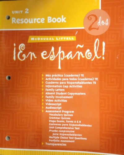 McDougal Littell ¡En Español!: Unit Resource Book Unit 2 Level 2 (Spanish Edition)