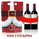 Santa Pants Wine Flask- Holds 2 Bottles- Funny White Elephant Gifts Under 25 Dollars- Holiday Gag Christmas Office Party, Coworkers- Liquor Dispenser- Wine Tasting Party Supplies- Secret Santa Gifts