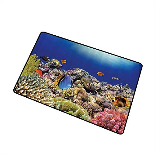 Mdxizc Interesting Doormat Ocean Decor Collection Wild Sea Life Colorful Ancient Coral Reefs and Exotic Fishes Bali Indonesia Picture W35 xL47 Quick and Easy to Clean Navy Blue Orange Olive Ivory