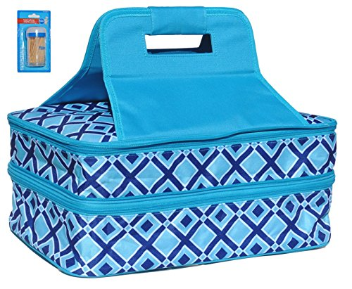 TEAL Double Thermal Expandable Insulated Large Hot Cold Cute Lasagna Pan Casserole Holiday Dish Food Carrier Tote Best Last Minute Gift Idea Under 40 Dollars for Her Mom Wife Mother in Law Best Friend