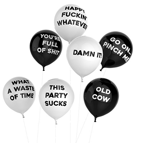 Thick Air Balloons – Funny Adult Humour Balloons For Party 10-Pack – General Black
