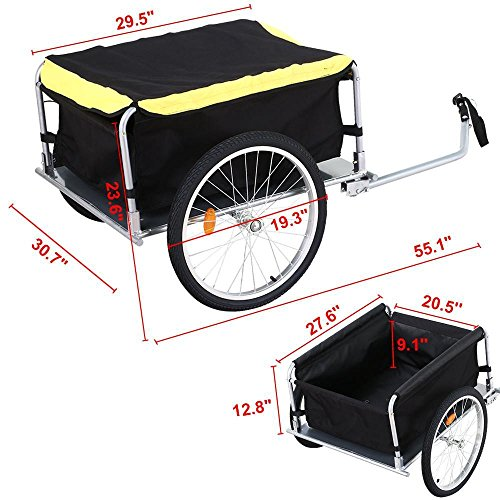 go2buy Foldable Bike Cargo Trailer Utility Luggage Bicycle Trailer Black and Yellow