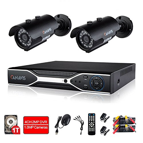 720P Wired Home Security Camera System 4CH DVR Video Surveillance System 2 × 1.0MP Indoor Outdoor Waterproof CCTV Bullet Camera with IR Night Vision 1TB Hard Drive, Motion Detection Pentaplex Digital Video