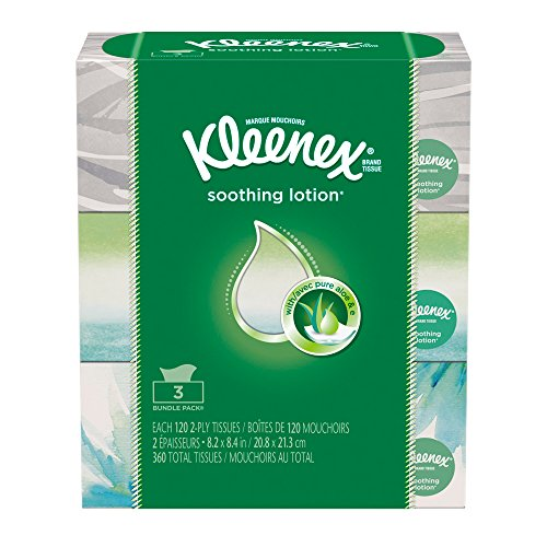 Kleenex Lotion Facial Tissue Flat 120 Count Pack Of 3