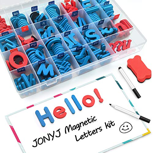 JONYJ Foam Magnetic Letters, Magnetic Alphabet Letters Board with Storage Box, 208 Pcs ABC Uppercase Lowercase Alphabet Magnets for Kids Spelling and Learning - Classroom & Home Education - Magnetic Uppercase Alphabet Letters