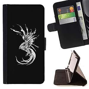 BullDog Case - FOR/HTC One M9 / - / dragon abstract mermaid black white /- Monedero de cuero de la PU Llevar cubierta de la caja con el ID Credit Card Slots Flip funda de cuer
