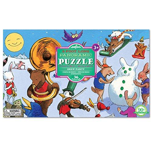 eeBoo Snow Party Floor Puzzle for Kids, 36 pieces (3 feet long) by eeBoo