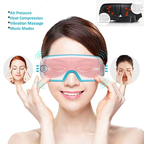 BAIYEA Eye Massager with Air Pressure, Music, Vibration and Heat Compression Therapy, Wireless Rechargeable Foldable Temple Massager for Eye Care, Dry Eyes, Stress, Headaches Relief