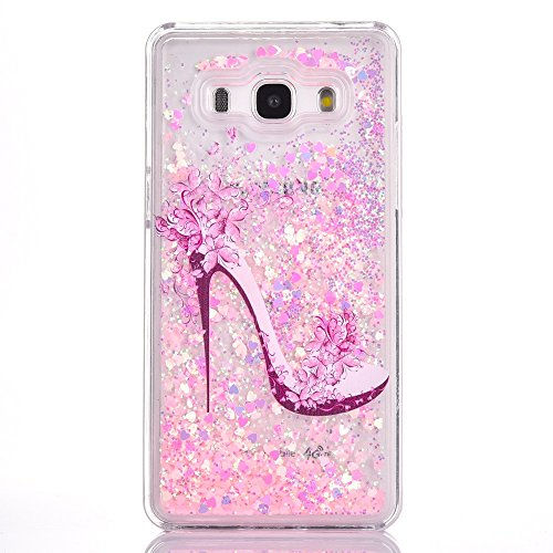 G530 Bling Pink Case, Samsung Galaxy Grand Prime G530 Cute Case, GreenDimension Sparkle Hybrid Hard Clear PC Plastic Shock Absorbing Back Infused with Moving Liquid Quicksand Floating Pink Heart Stars