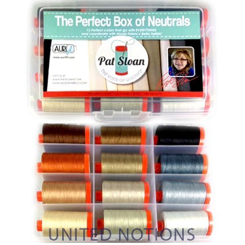 Aurifil Thread Set THE PERFECT BOX OF NEUTRALS By Pat Sloan 50wt Cotton 12 Large (1422 yard) Spools by Aurifil