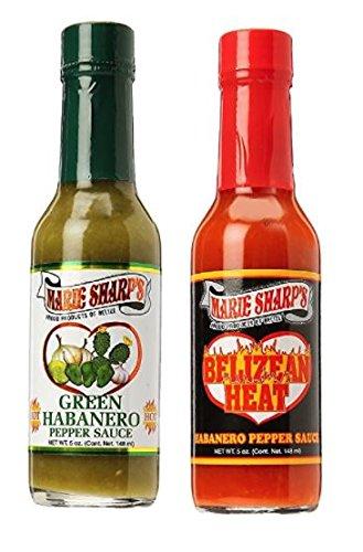 Marie Sharps Green Habanero 5 oz & Belizean Heat Sauce 5 oz (Variety Pack)