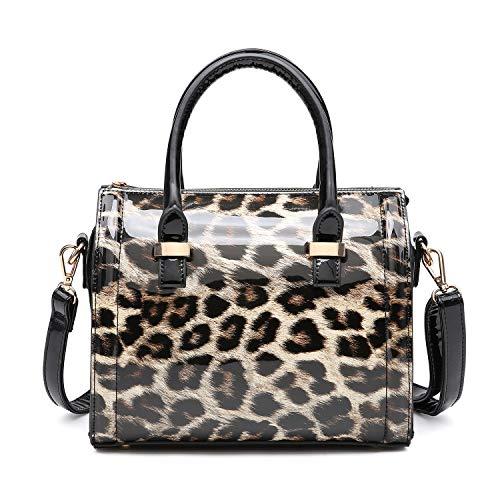 Dasein Shiny Patent Faux Leather Mini Barrel Body Satchel Handbag Shoulder Bag - Small Leopard