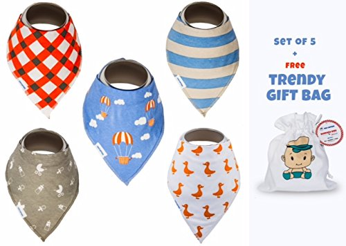 [Baby Bandana Drool Bibs For Boys and Girls, Hypo-Allergenic, Super Soft Absorbent Best Gift for Newborn, Infant, and 1 Year Old Toddler (Blue, Grey] (Family Themed Fancy Dress Costumes)
