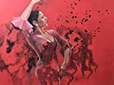Spanish flamenco dance, passion, woman dancing, red