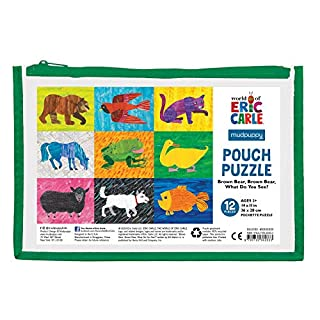 "Mudpuppy World of Eric Carle Brown Bear, Brown Bear What Do You See? Pouch Puzzle, 12 Pieces, 14"" x 11"" – Great for Kids Age 2-4 – Perfect for Travel – Packaged in Secure, Reusable Pouch"