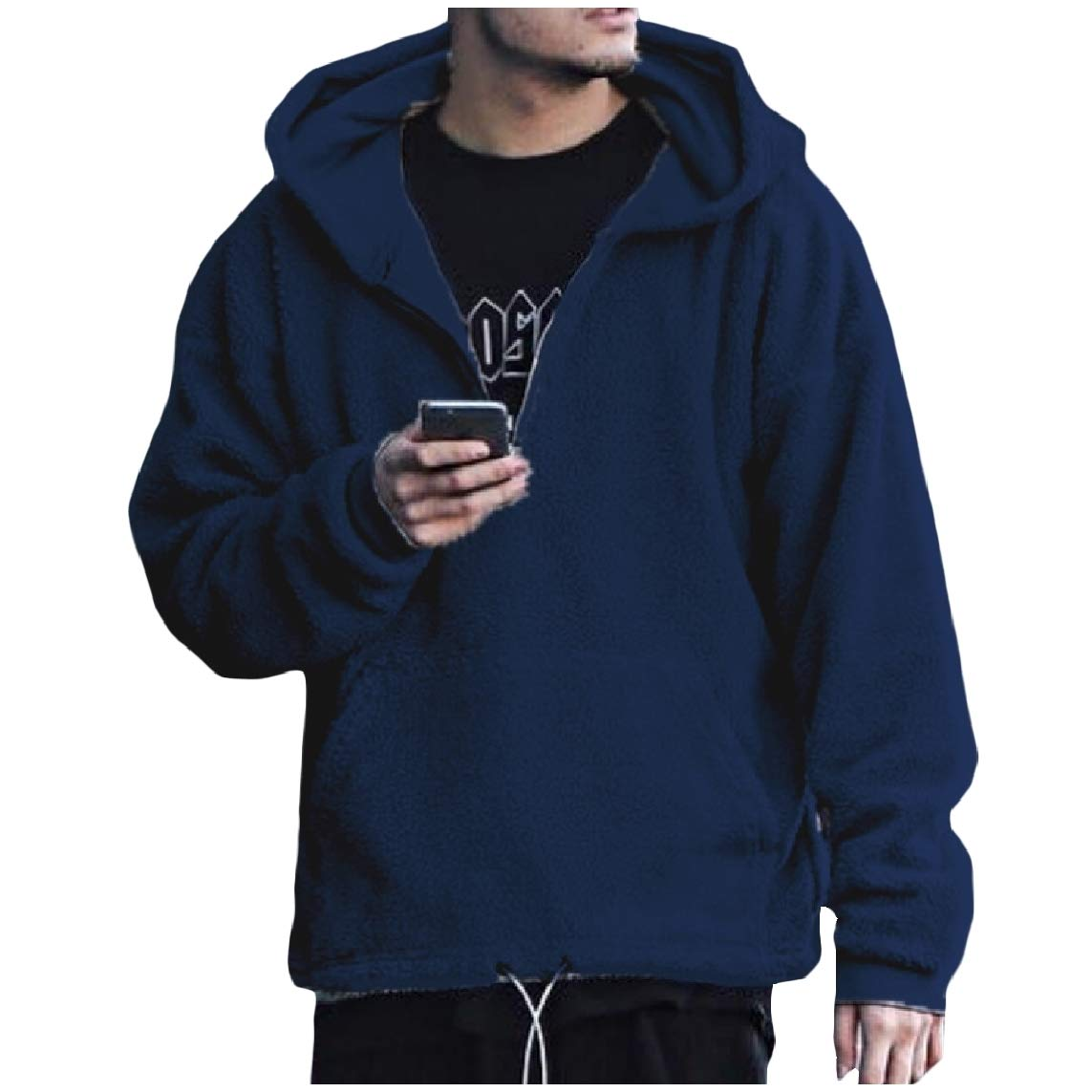 LinkShow Mens Long Sleeve Casual Cashmere Sweater Hooded Cargo Pocket Tees Top