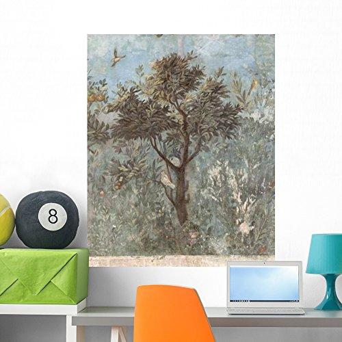 Fresco Grasses - Roman Fresco Tree with Wall Mural Wallmonkeys Peel and Stick Graphic (36 in H x 29 in W) WM242202